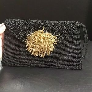 Black Gold  beaded evening clutch